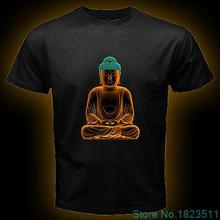 Buddha Budha Buddhist Karma Peace Men Black T Shirt short sleeve tee Size S-3XL 100% Cotton