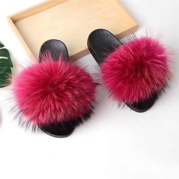 raccoon fur slippers hot pink (1)