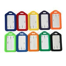 10Pcs/lot Colorful Luggage Labels With Transparent Straps New Fashion Plastic Travel Luggage Tags Ramdom Color(China)
