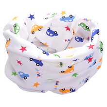 New 100% Cotton Baby Scarf Car Star Cartoon Print Children Scarves Kids O Ring Collar Autumn Winter Boys and Girls Magic Scarf