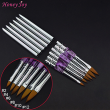 Pro Nail Art Sculpture Brush Kolinsky Sable Acrylic Powder Pen #2/4/6/8/10/12 UV Gel Builder Carving Drawing Paint Brushes(China)