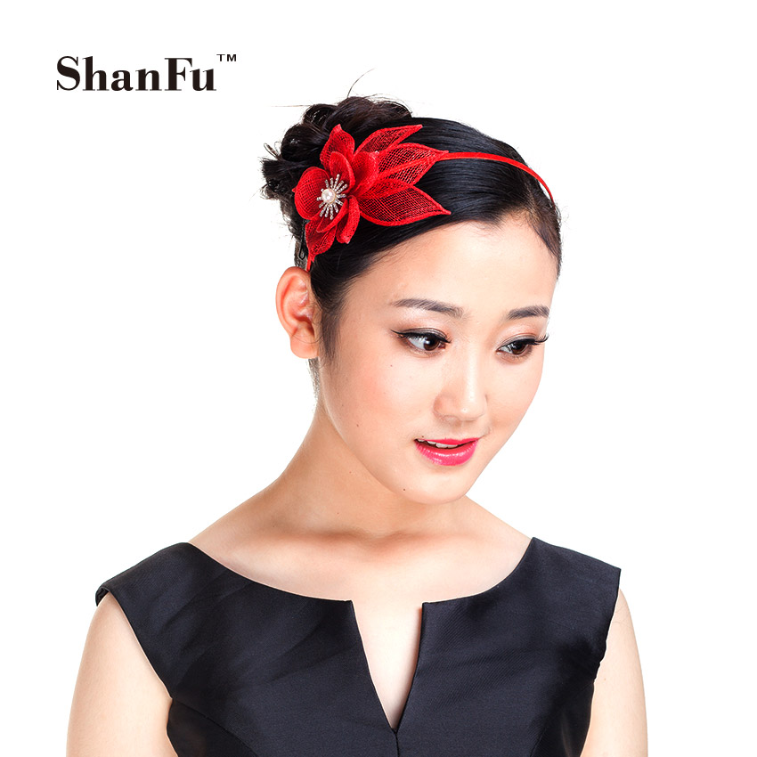 ShanFu Flower Headband Sinamay Hair Fascinators Women Hair Accessories Pink Cream for Wedding Tea Party SFD2803(China (Mainland))