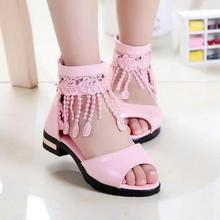 Buy New style Summer sandals Female Children Sandals Baby Girls Lace Tassel Fashion Princess Shoes PU Leather hard sole 17-23.3CM for $11.40 in AliExpress store