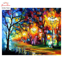 Goldenpanno,5D,diy diamond embroidery,Full,square,Diamond Painting,Cross Stitch,3D,diamond,Mosaic,Needlwork,Crafts,Street light(China)