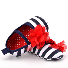 CHICHIMAO Baby Toddler Shoes Infant Toddler Stripe Flower Soft Sole Kid Girls Boy Baby Crib Shoes Prewalker 0-18 Months(China)