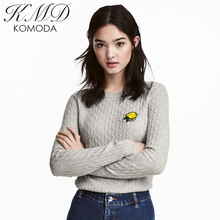 KMD KOMODA 2017 Basic Cotton Flat Knitted Women Sweater Long Sleeve O-Neck Casual Embroidery Female Sweater Solid Ladies Sweater