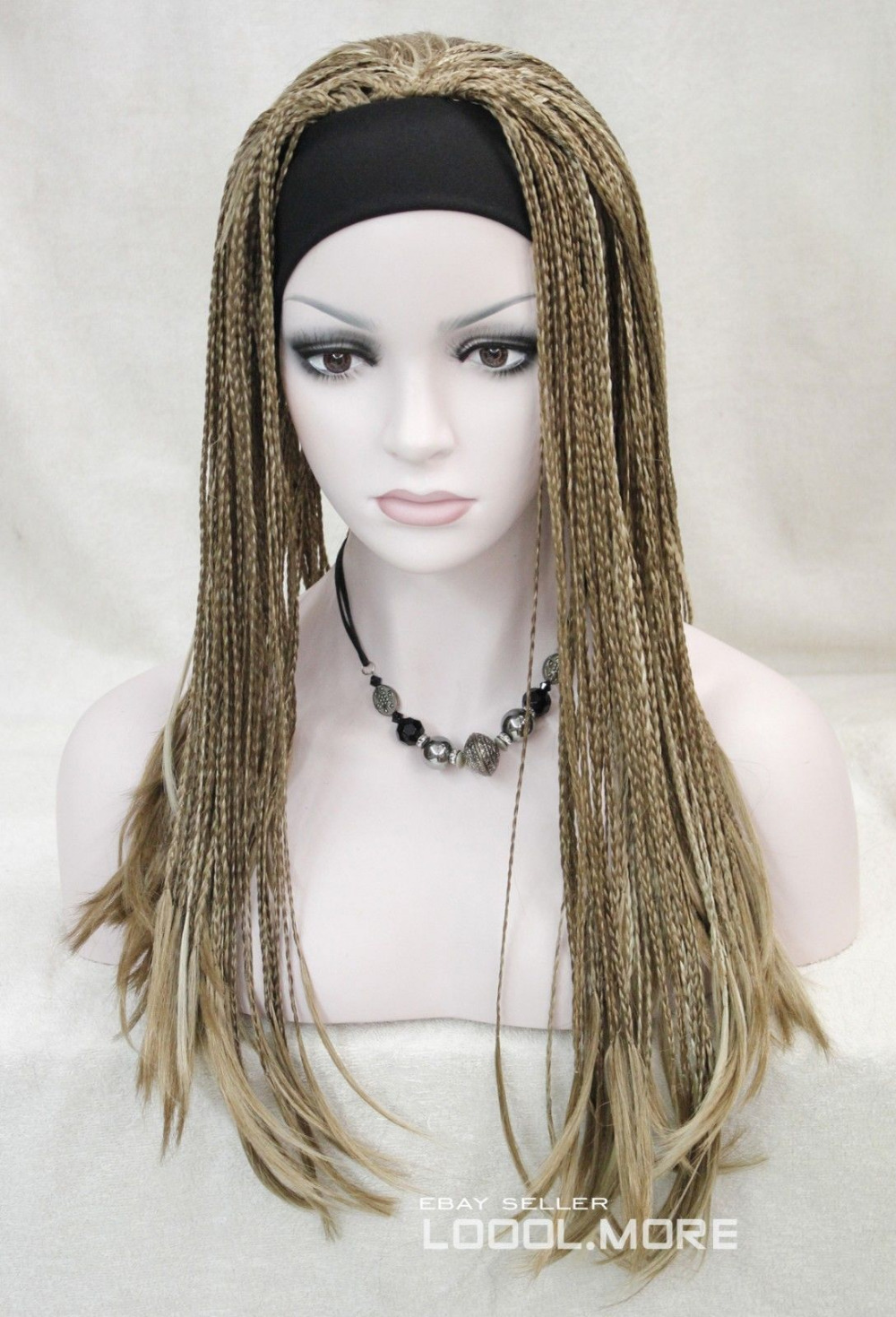 100% Picture full lace wig Fashion Light Brown Blonde Mix unique Man-made braids 3/4 wig headband<br><br>Aliexpress