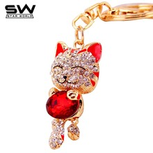STARWORLD Smile Cat Crystal Keyring Key Holder Purse Bag For Car christmas Gift Keychains 2017 brand key chain(China)