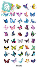 Rocooart RC2315 Waterproof Temporary Tattoo Stickers Glitter Colorful Butterfly Fake Tattoo Water Transfer Tattoo Taty Body Art
