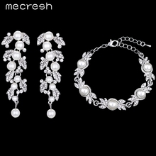 Mecresh Crystal Jewelry Sets For Women Leaf Silver Color Simulated Pearl Bracelet Earrings Wedding Bijouterie EH604+MSL197