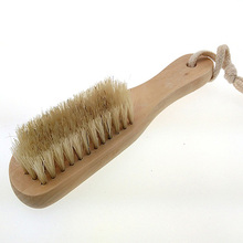 Shoe Polish Buffing Brush Wood Bristles Boot Care Clean Shoe Brush J2Y