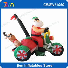 Christmas decoration inflatables / inflatable Santa claus on motor bike / christmas event inflatable decorations