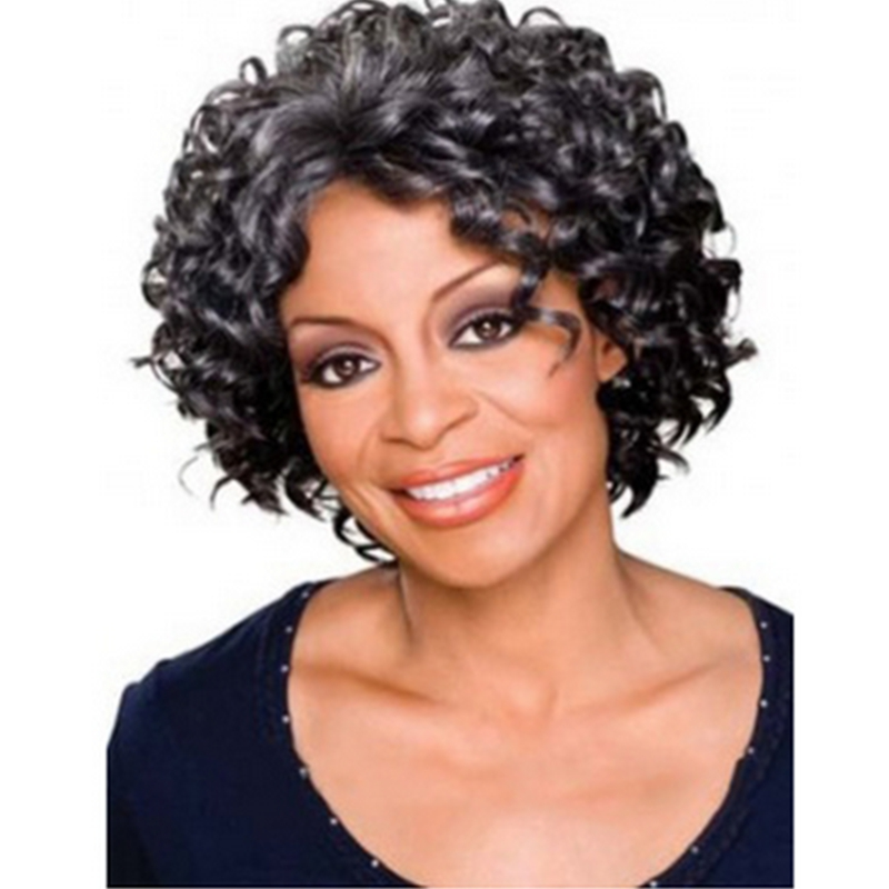 Wig WW2-06# black women tight curl afro wigsheat resistant synthetic wig free cap &amp; clip &amp; comb<br><br>Aliexpress