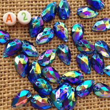New Products Sell Like Hot Cakes Deep Blue Color AB Crystal Charming 500Pcs 2 Hole Acrylic Rhinestones Teardrop Sewing 12x7mm(China)