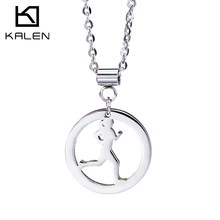 Christmas Sales New Fashion Stainless Steel Jewelry Running Girl Sports Pendant Necklace Cheap Accessory Birthday Gift For Women