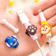 Cute Cartoon Cable Protector de cabo USB Cable Winder Cover Case For IPhone 5 5s 6 6s 7 7s plus cable Protect stitch devanadera(China)
