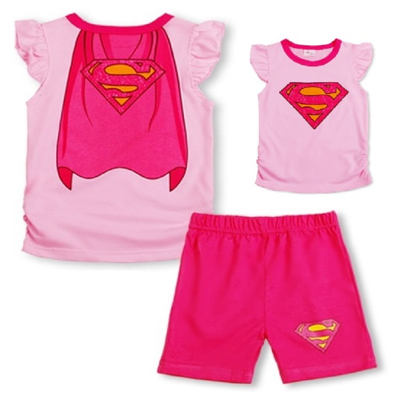2016 Superman Summer Girls Clothes Set Children T-shirts Tops Shorts Pants Gilr Sport Suit toddler girl clothing<br><br>Aliexpress