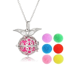 Bola Angel Wings Ball Necklace For Women Aromatherapy Locket Pendant Necklace Aroma Perfume Essential Oil diffuser Necklace 45cm