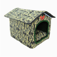 Foldable Camouflage Pets Soft Warm Kennel Dogs Cats Bed Home Shape  FMYK036