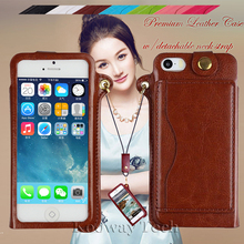 For iPhone SE Case, Premium PU Leather Cases with Detachable Neck Strap & Back Credit Card Holder for iPhone 5S 5 SE Cover Case