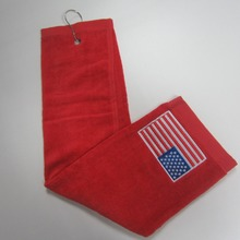 red color 100% cotton 3 folded 40x60cm 120g usa flag embroidery golf ball club cleaning metal hook clip Golf towel