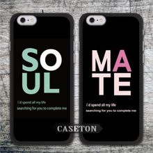 Couple Soul Mate Lover Case For iPhone 7 6 6s Plus 5 5s 5c and For iPod 5 Quality Spiritual Protective Cover Wholesale Retail