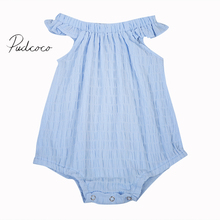 2017 Solid Blue Fancy Summer Infant Baby Girl Cotton Jumpsuit Romper Outfits Sunsuit Clothes(China)