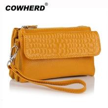 Big Capacity Fashion Women Wallets Long Genuine Leather Wristlets Female Double Zipper Clutch Coin Purse Shoulder Messenger Bags