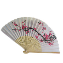 New Retro Style Exquisite Japanese Silk Plum Flower Folding Hand Fan Wedding Party Prom High End Crafts Women Folding Fans(China)