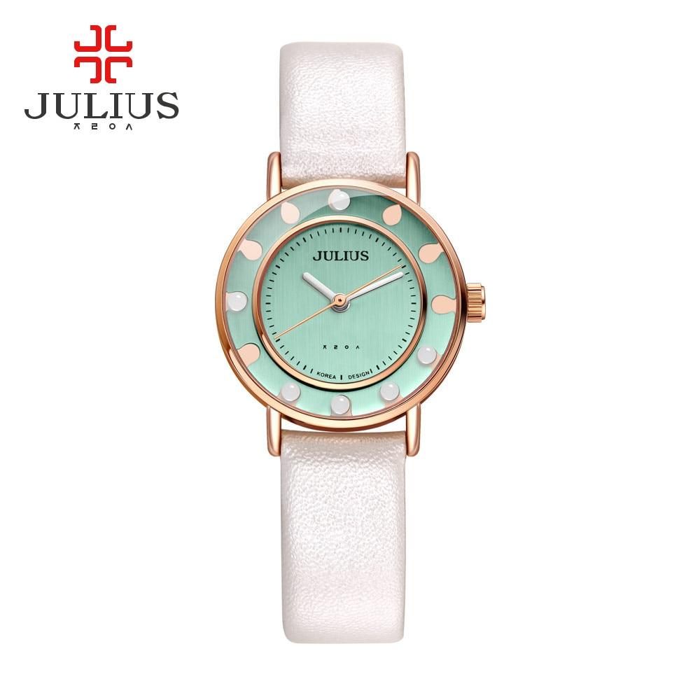 Julius Quartz Rose Gold Watches Women Girl Designer Rocking Beads Leather Watch Ladies Simple Ultra Thin Wristwatch Clock JA-927<br><br>Aliexpress