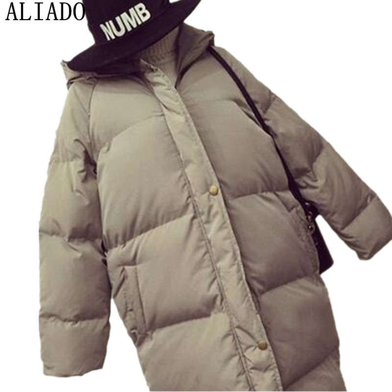2017 Winter Korean Style Hot Sale Solid Wide-waisted Thickening Warm Fashionable Slim Women Parkas Black Gray With HatОдежда и ак�е��уары<br><br><br>Aliexpress
