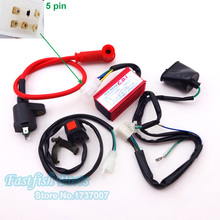 Kill Switch & Racing Ignition Coil & 5 pin AC CDI & Wirings Loom Harness For Chinese Pit Dirt Bike Motorcycle Crass Bicycle