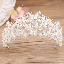 Gorgeous Handmade Beautiful Pearl Crystal Butterfly Crown Wedding Hair Ornaments Bridal Tiara Brides Headdress Hair Jewelry