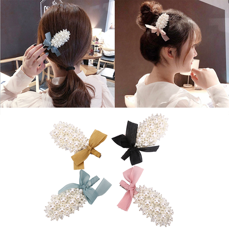 Colorful Bow Pearl Hair Clips Barrette Fashion Cute Hair Pins Rhinestone Hair Accessories Crystal Hairpins Jewelry Gift 4Types