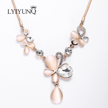 LYIYUNQ Fashion Temperament Opal Necklaces For Women Rhinestone Big Pendant Necklace Classic Butterfly Crystal Fine Jewelry