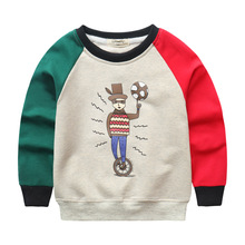 Korean children sweater spring 17 cotton Crewneck sweater for boys and girls wear long sleeved shirt factory direct cartoon