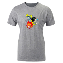 Cotton T-shirts women Short Sleeves Powerpuff Girls Blossom Bubbles Buttercup Design Top Tees Fashion Casual T-shirt for girls