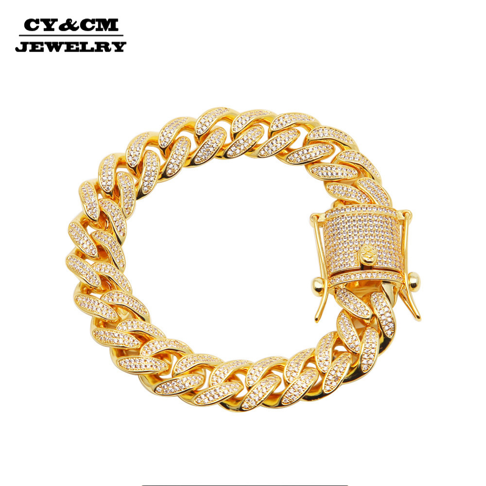 CY&CM Men Bling Micro Pave Cubic Zirconia Iced Out Gold Silver Color CZ Hip Hop Jewelry 13mm Luxury Cuban Chain Link Bracelet