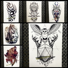 Black Diamond Geometry Owl Temporary Tattoo Sticker WOmen Fake Henna Waterproof Tattoo Decals 21*15CM Crystal Body Art ARm Tatoo