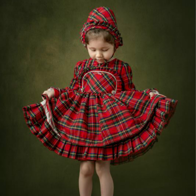 2019Girls red Spain Princess Brithday Party Red Plaid Baby Dress Long Sleeve Kids Clothes England dress+hat+pants set