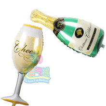 10pcs/lot (5pcs goblet+5pcs wine bottle)Shaped Foil Balloons cheers mylar baloes for anniversary/wedding/birthday Decoration