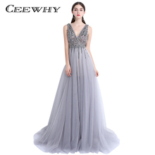 CEEWHY V-Opening Back Wedding Party Dress Formal Gown Evening Dresses with Crystals Beading Banquet Prom Dress Abendkleider(China)
