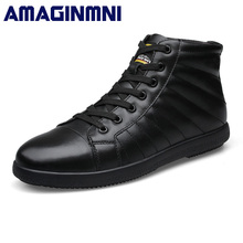 AMAGINMNI Brand Big Size Men Shoes Fashion Winter Leather Ankle Boots Genuine Leather Mens Cowboy Boots Male Moccasin Boots(China)