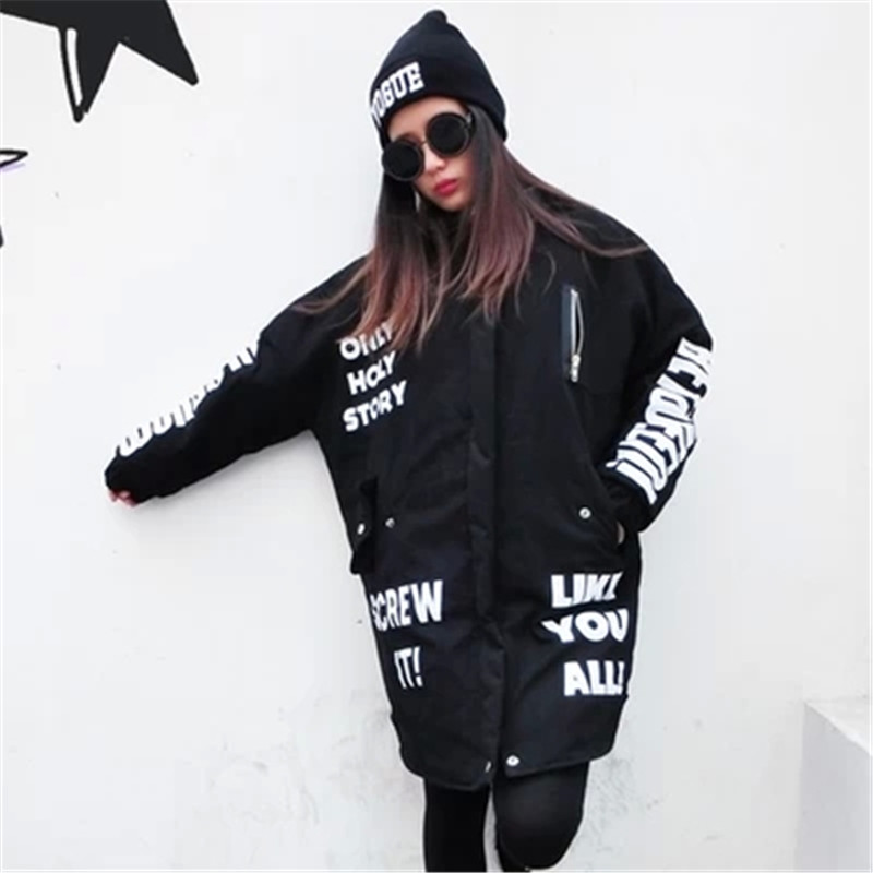 2017 Women clothing winter coat women  Letters Printed pu leather stitching loose long section padded jackets TopsОдежда и ак�е��уары<br><br><br>Aliexpress