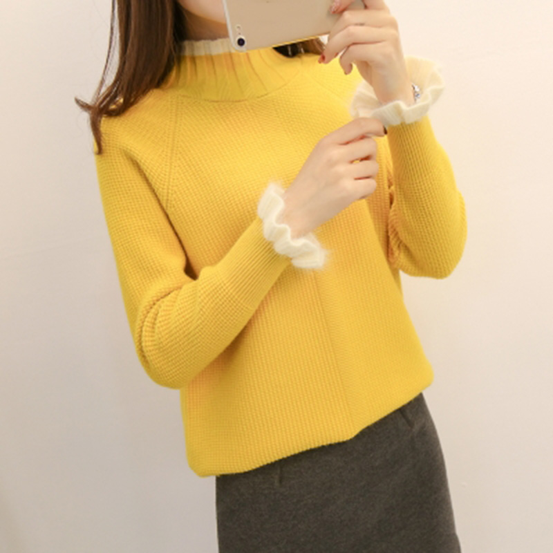 2018 Fashion Women Half Turtleneck Knitted Sweater Pullover Autumn Winter Female Butterfly Sleeve Warm Knitted Sweater Tops F457