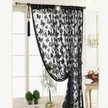 New Black Door Window Curtain Room Divider Strip Tassel Butterfly Pattern 100*200cm(China)