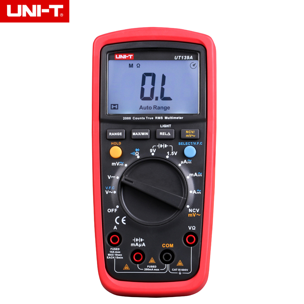 UNI-T UT139A True RMS Digital Multimeter Auto/manual Range AC/DC Amp/Volts Ohm Tester with Data Hold, NCV,and Battery Test<br>