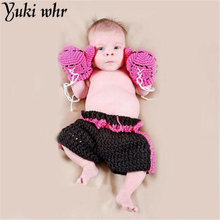 Yuki Kids Clothes set Infant Boxing gloves shorts Outfits Crochet Baby Boy Boxer photography props Handmade knitted(China)