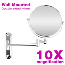 8 inch Wall Mounted Makeup Mirror Extending Folding Round Two Side 10X Magnification Bathroom Mirror Cosmetic Lady's Mirror(China)