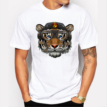 Tigernout Vintage printed Men t-shirt Tiger with Party Emblems design men customized tee shirts short sleeve funny tops